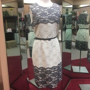 Maggy London Grey & Off White Dress Size 10